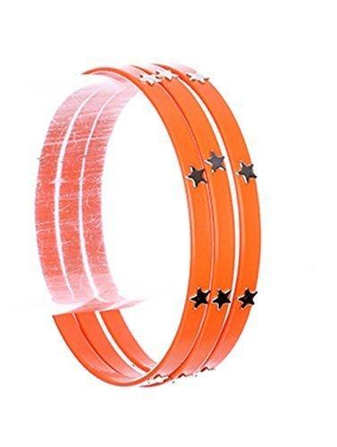 beyoutifulthings Damen Edelstahl silbern Armreif DREI Reifen überzogen mit Epoxid orange und Sternen aus Metall Durchmesser: 7cm