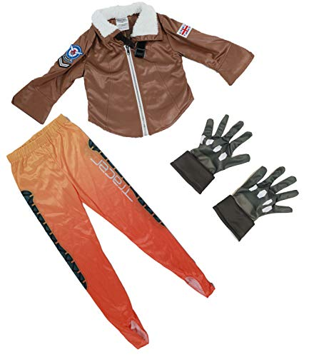 HNNS OW Tracer Cosplay Kids Deluxe Costume Jacket/Pants/Gloves for Girls/Boys (Small) Brown
