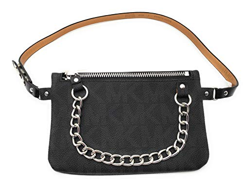 Michael Kors Womens Bag Mk Monogram Fanny Pack with Chain - Black (X-Large)