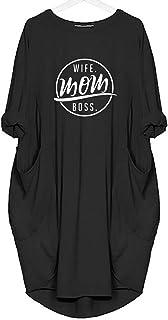 Women T-shirt Dress With Wife Mother Boss Letter Print