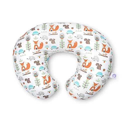 Boppy Cojin de Lactancia para Bebés de 0+ Meses, Forma Ergonómica e Indeformable, Miracle Middle, Almohada y Nido Bebé para la Lactancia Materna o con Biberón - Blanco Bosque (Modern Wood)