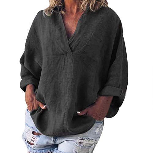 Xinantime Women Casual V Neck Solid Blouse Top Loose Cotton Linen Long Sleeve T-Shirts Plus Size Tunic(Black,XL)