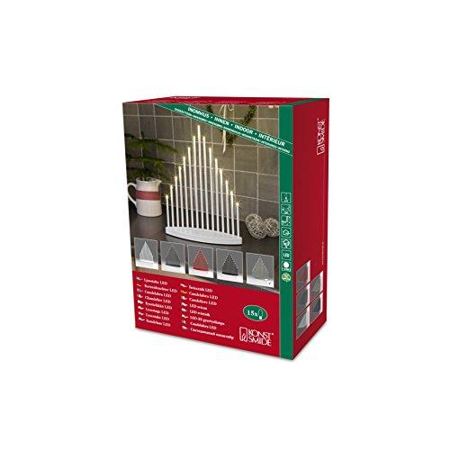 Konstsmide 2495-900TR LED Metallleuchter gebürstet / für Innen / 3V Innentrafo / 15 warm weiße Dioden / transparentes Kabel