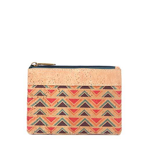 MenKai - Porta monete borsellino da donna in pelle di 100% sughero portoghese, con cerniera,Vari modelli Ref 736