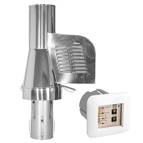 Subtiel 6020-SRV-1-6062 Rauchgasventilator GCK200 mit verlängertem Einschub reduzierend + 12-Stufen-Regler Unterputz