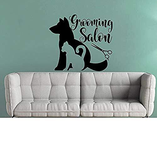 Etiqueta de la pared Peluquería para mascotas Salón Vinilo Pegatina de aseo para mascotas Calcomanía de pared Tienda de mascotas Decoración Animales Interior Cachorro Gato Mascotas Calcomanías 47X42Cm