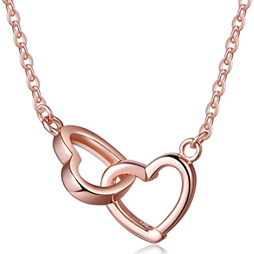 Infinite U Classic Double Interlocking Hearts Separable Pendant 925 Sterling Silver Womens Necklace, Rose Gold