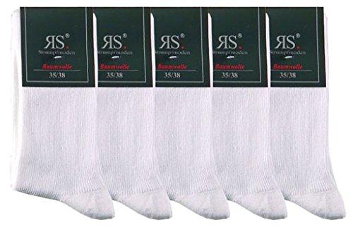 """socksPur 5er PACK BAUMWOLLSOCKEN 1:1 Rippe """"WEISS"""" (39-42, weiß)"""