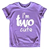 2nd Birthday Outfits for Toddler Girls im Two Cute Shirt Girl 2 Year olds Second (Purple, 2T)
