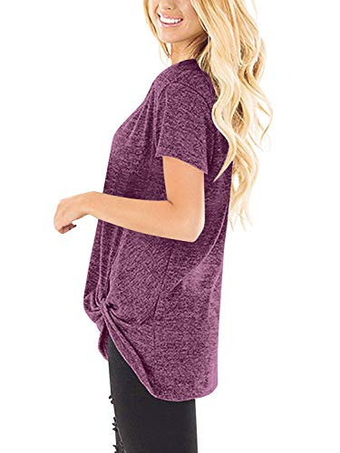 Fashion Shopping Yidarton Women's Comfy Casual Long Sleeve Side Twist Knotted Tops Blouse Tunic