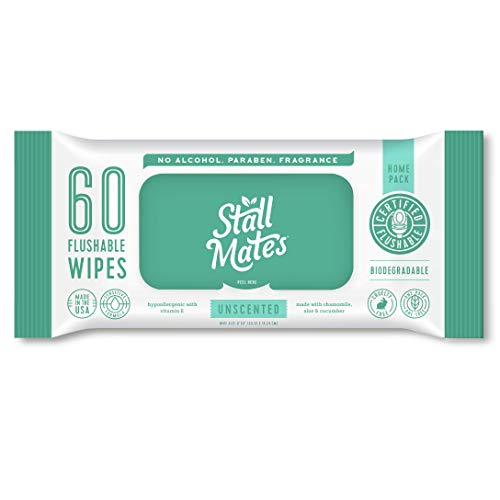 Stall Mates 60-Wipe Home Pack: Flushable and Hypoallergenic Moist Wipes Made in the USA. Unscented with Vitamin-E & Aloe, 100% Biodegradable