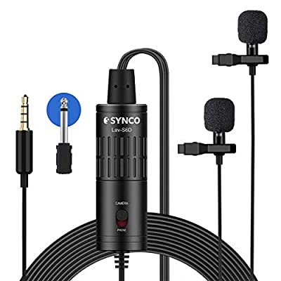 Dual Lavalier Lapel Microphone, SYNCO Lav-S6D Lav Mic Double-head Clip on Omnidirectional 6m Cable for iPhone Android Smartphone, Camera DSLR, Audio Recorder, Laptop PC, with 6.3mm Adapter