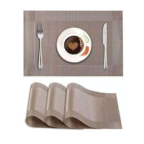 Baoniansoo Tischsets, 4er-Set, Hitzebeständiges Gewebtes Vinyl-Tischset, Schmutzabweisende, rutschfeste, Waschbare PVC-Tischmatte, Leicht Zu Reinigen Für Den Esstisch In Der Küche (Color : Champagne)