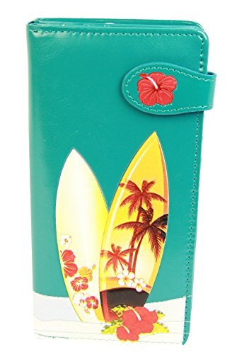 Shagwear Junge-Damen Geldbörse, Large Purse Designs: (Surfen Aquamarin/Surfing)