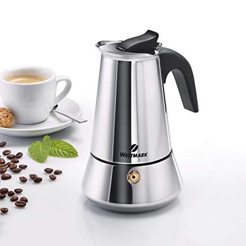 Westmark Espressokocher, Für 4 Espressotassen, Edelstahl, Brasilia Plus, Silber/schwarz, 24662260