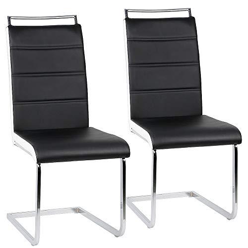 Esszimmerstuhl mit Hoher Rückenlehne, 2-er Set, Schwingstuhl Set, Schwarz + Weiß