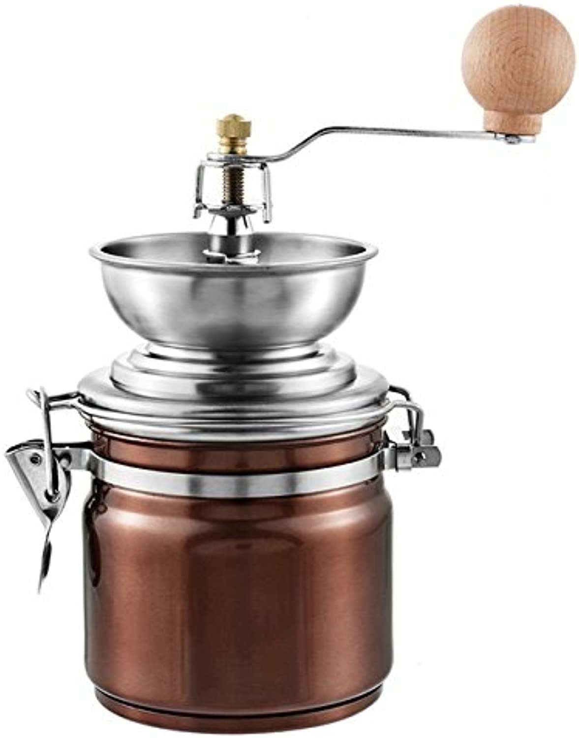 Farmerly Hoomall Classic Manual Hand Coffee Beans Mill Stainless Steel Grinder Home Kitchen Tool Thickness Adjustable Ceramic Movement   Brown