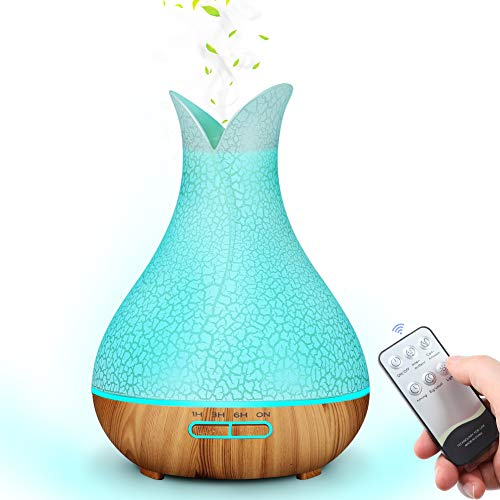 MANLI Aroma Diffuser Riss Diffusor Aromatherapie Luftbefeuchter Gefrorener holzmaserung 400ml Raumbefeuchter LED mit 7 Licht Farben Fernbedienung für Büro, Baby Zimmer, Yoga, Spa, Schlafzimmer
