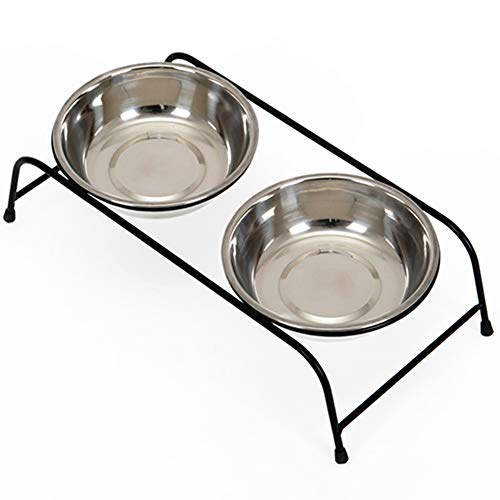 DishyKooker Doppelnapf für Hunde, Teddy, Zwergspitz, Trinkwasserfütterung, S-28 x 13 x 6,5 cm, Edelstahl, Doppelnapf