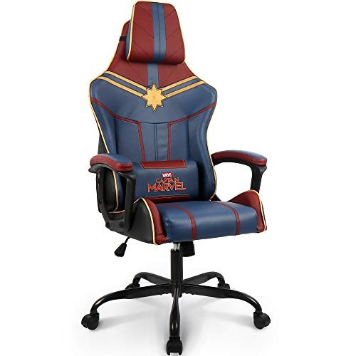 Marvel Avengers Captain Marvel Gaming Chair High End Ergonomic Neck Lumbar...