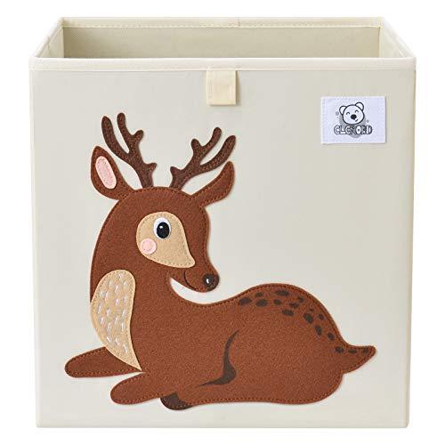 CLCROBD Foldable Animal Cube Storage Bins Fabric Toy Box/Chest/Organizer for Toddler/Kids Nursery  Playroom  13 inch (Deer)