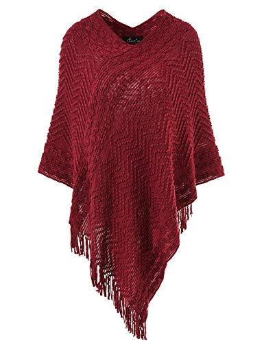 Ferand Eleganter Bequemer Damen Poncho Pullover mit Chevronstreifen und Fransen, One Size, Weinrot