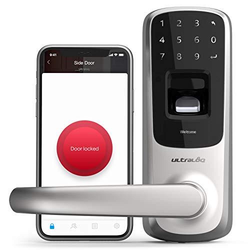ULTRALOQ UL3 BT (2nd Gen) Smart Lock 5-in-1 Keyless Entry Electronic Door Handle, Satin Nickel