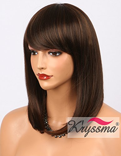 K'ryssma Bob Wig With Bangs - Natural Looking Brown #4 Synthetic Wigs with Highlights #30 Cheap None Lace Short Hair Wigs for Women Full Machine Made 14 inch (M03000)