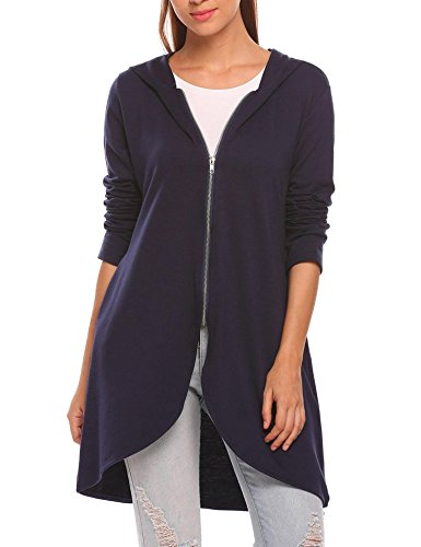 Zeagoo Women's Casual Light Oversized Zip Hoodie Sweatshirt Jacket Navy Blue