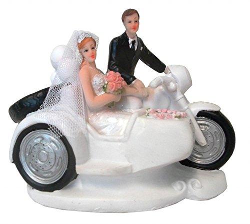 Brautpaar, Hochzeitspaar | Tortenaufsatz, Tortenfigur, Dekofigur, Cake Topper Wedding Hochzeit Trauung Hochzeitstorte | Motorrad mit Seitenwagen | 11 x 12 cm