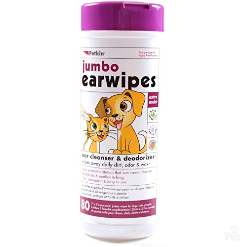 Petkin Jumbo Ear Wipes For Cats amp Dogs