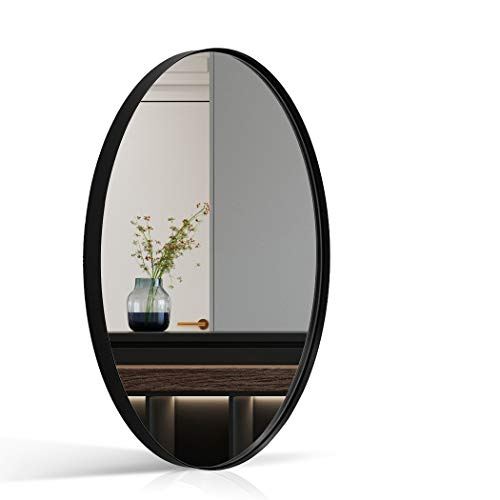 ANDY STAR Wall Mirror for Bathroom, 24x36x1'' Black Metal Frame Oval Mirror -