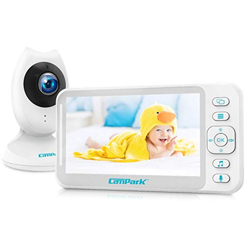 Campark Babyphone mit Kamera, Video Baby Monitor 4,3 Zoll LCD Bildschirm mit Split Screen, Babyfon mit Zwei-Wege Audio, Temperaturüberwachung, akustischer Alarm, Vox, Nachtsicht, 8 Schlaflieder