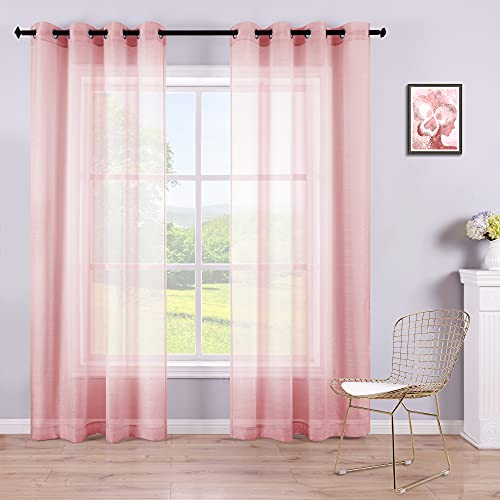Sheer Pink Curtains 2 Panels 84 Inches Long Grommet Window Voile Drape Transparent Faux Linen Semi Sheer Curtain for Bedroom Girls Room Decor Living Room Wide 52 Length Nickel Soft Light Blush Pink