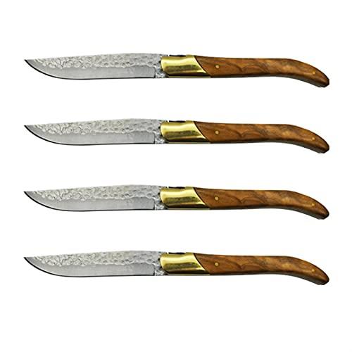 Cuchillos de bistec de madera de olivo Conjunto de acero inoxidable Mesa japonesa Knifes Jaws pulidos y cuchillas martilladas Cubiertos (Color : 4pcs)