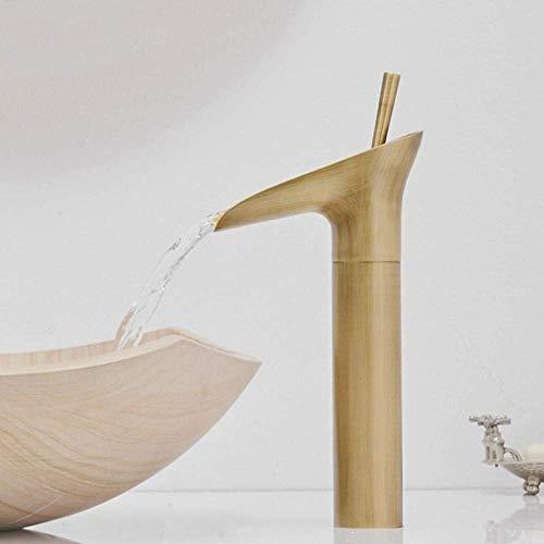 BXU-BG Grifo de cristal de vino estilo de una sola palanca de cascada de baño, ahorro de agua y duradero, antiguo y frío