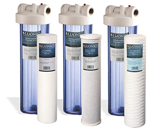 """Bluonics Triple Whole House Water Filter for City & Well Water 3 Stage Home Water Filtration System with 4.5"""" x 20"""" Sediment and Carbon Filters. 1 Inch Inlet Outlet Connections"""