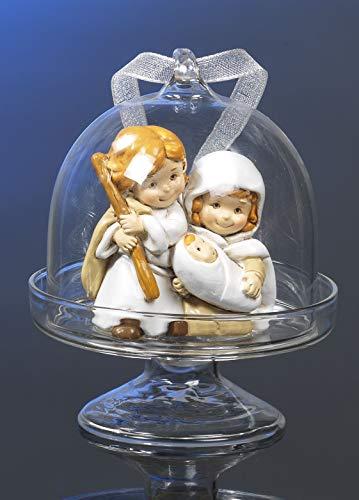 Paben Noel Alzata in Vetro con Natività Presepe in Resina Idea Regalo Natale