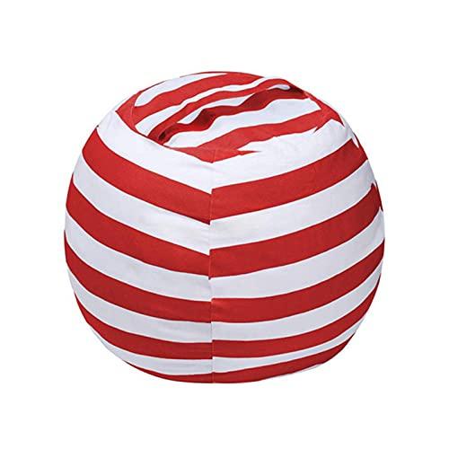 LDIW Bolsa de Frijoles de Almacenamiento Silla Bolsa de Animales de Peluche Juguetes para Nios Puffs Funda de Puf Beanbag Sin Relleno,Rojo,Large