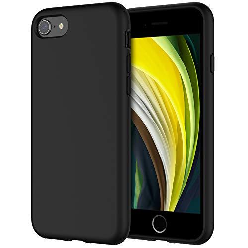 JETech Cover in Silicone Compatibile iPhone SE 2020/8 / 7, Custodia Protettiva con Tutto Il Corpo Tocco Morbido setoso, Cover Antiurto con Fodera in Microfibra, Nero