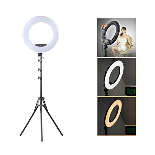 HULYZLB LED Ring Light18''/45CM Dimmable LED Ring Light with Stand, Camera Photo Video Lightning Kit, 96W 5500K/ YouTube/Video Shooting