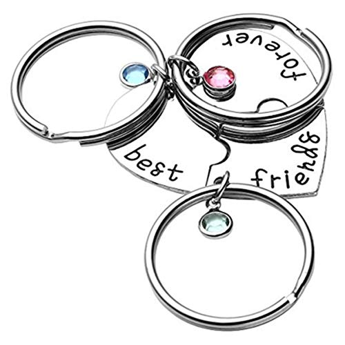 VALICLUD Neuheit Schlüsselanhänger Bff Schlüsselbund für 3 Beste Freund für Immer Und Immer Passende Schlüsselanhänger für Freunde