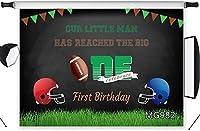 新しい野球スポーツの背景小さな男の子の1歳の誕生日パーティーの写真の背景7x5ftファブリックキッズ男の子の誕生日パーティーのケーキテーブルの装飾バナーポートレート写真ブースの背景の小道具洗える
