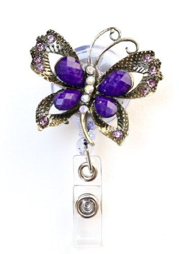 Sizzle City Butterfly Brooch Rhinestone Retractable Badge Reel/ Rhinestone ID Badge Holder (Gold Purple Butterfly)