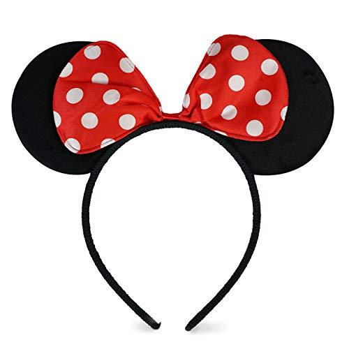 ZADAWERK Haarreif - Mini Mouse - Rot - Maus-Kostüm - Kinder Haarreif mit pinker Schleife - Disney Ohren - Haarspange für Kinder - Micky Mouse - Karnevalsohren - Deutsche Marke