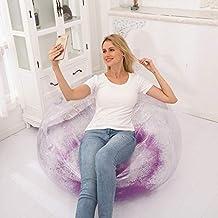 أريكة واحدة قابلة للنفخ من JUNZHEN شفافة للغاية ذات ترتر كسول قابل للطي كرسي قابل للنفخ غرفة المعيشة والترفيه (اللون: أرجو...