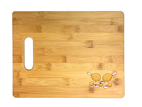 Randy Otter'Chicken Farm' Fried Chicken Legs & Nuggets w/Sauce 3D COLOR Printed Bamboo Cutting Board - Wedding, Housewarming, Anniversary, Birthday, Mother's Day, Gift