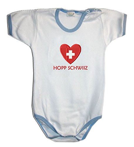 Zigozago - Body Bébé à Manches Courtes avec Broderie Suisse Taille: 12 Mois - Couleur: Bleu