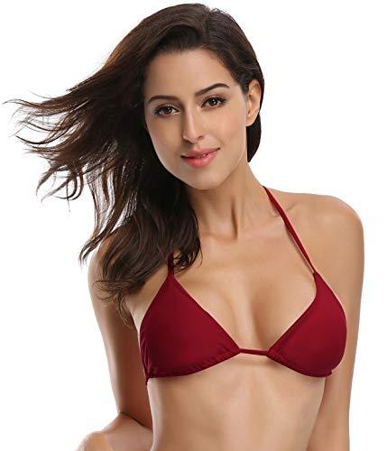 SHEKINI Mujeres Clásico Corredizo Ajustable Ties-up Triángulo Bikini Top (M,Top-Vino Tinto)