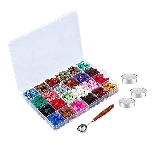 Wilk 600pcs Octagon lacre Kit de Cuentas presentado en Caja de plástico con 3 Piezas de té Velas y una fusión de la Cera de la Cuchara por lacre Sello (24 Colores), Cera rebordes de Junta